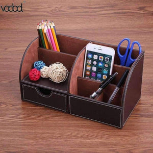 Planet Gates 3 PU Leather Office Desk Organizer Desktop Card Pencil Pen Holder Stationery Storage Box Container Accessories School Supplies