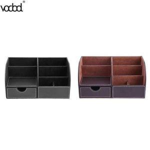 PU Leather Office Desk Organizer Desktop Card Pencil Pen Holder Stationery Storage Box Container Accessories School Supplies