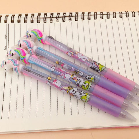 Planet Gates 30pcs/lot Lovely Unicorn 3 In 1 Multi Color Writing ballpoint pen students black office signature pen