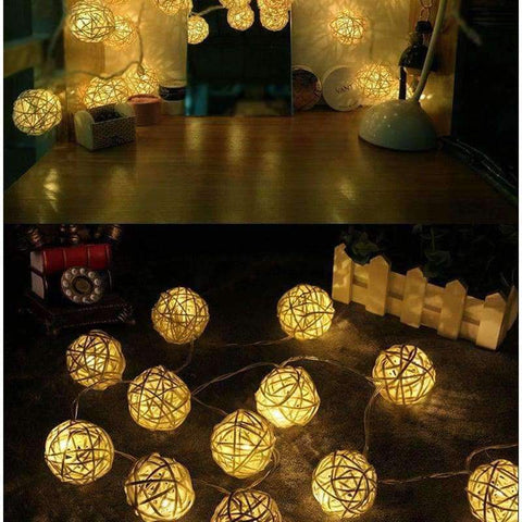 Image of Planet Gates 3CM White RattanBall / Warm White Goodland 2M Rattan Ball LED String Light Fairy Lights Holiday Light for Party Wedding Christmas Garland Gerlyanda Decoration