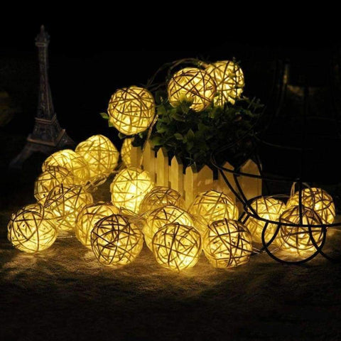 Image of Goodland 2M Rattan Ball LED String Light Fairy Lights Holiday Light for Party Wedding Christmas Garland Gerlyanda Decoration