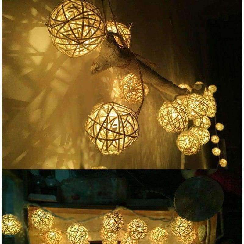 Planet Gates 3CM White RattanBall / Warm White Goodland 2M Rattan Ball LED String Light Fairy Lights Holiday Light for Party Wedding Christmas Garland Gerlyanda Decoration