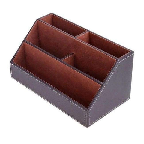 Planet Gates 4 PU Leather Office Desk Organizer Desktop Card Pencil Pen Holder Stationery Storage Box Container Accessories School Supplies