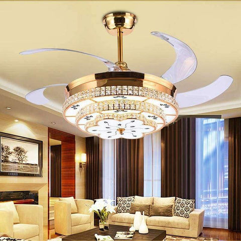 Planet Gates 42 inch Gold / 110V-130V Modern LED Luxury 52 inch Invisible Retractable Crystal Ceiling Fans With Lights Bedroom Folding Ceiling Fan Lamp Remote Control