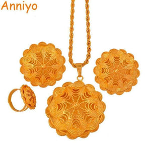 Planet Gates 45cm Twisted chain Anniyo High Quality Ethiopian Jewelry sets Necklace/Earring/Free Size Ring Gold Color African Eritrea Wedding Gifts #047911