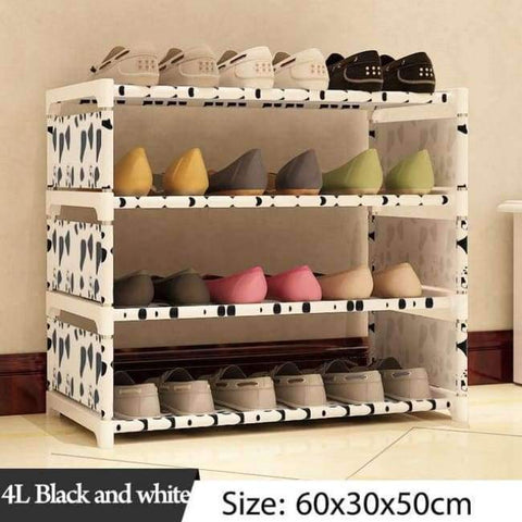 Image of Planet Gates 4L Black and white Simple Multi Layer Shoe rack Nonwovens Easy Assemble Storage Shelf Shoe cabinet fashion bookshelf Living Room Furniture