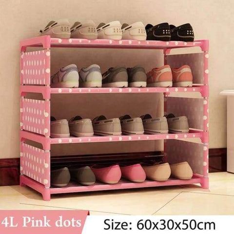 Image of Planet Gates 4L Pink dots Simple Multi Layer Shoe rack Nonwovens Easy Assemble Storage Shelf Shoe cabinet fashion bookshelf Living Room Furniture