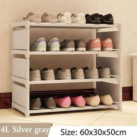 Image of Planet Gates 4L Silver gray Simple Multi Layer Shoe rack Nonwovens Easy Assemble Storage Shelf Shoe cabinet fashion bookshelf Living Room Furniture