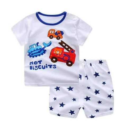 Planet Gates 5 / 6M Baby Boy Clothes Summer  Newborn Baby Boys Clothes Set Cotton Baby Clothing Suit (Shirt+Pants) Plaid Infant Clothes Set