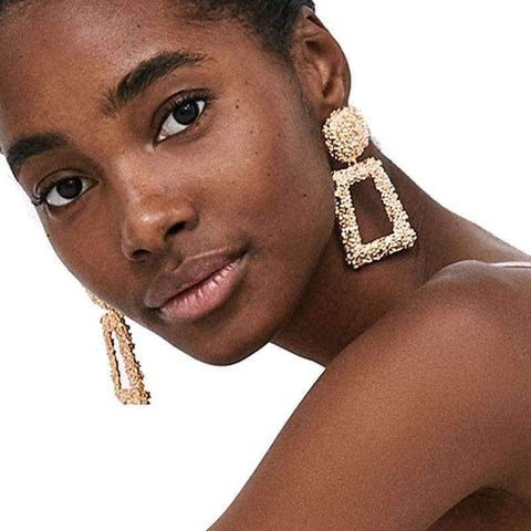 Planet Gates 51136-GD JUJIA good quality wholesale women statement earring fashion geometric metal Earrings for women jewelry earring
