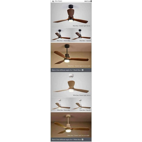 Planet Gates 52 Inch Black Base / China Botimi New LED Ceiling Fan For Living Room 220V Wooden Ceiling Fans With Lights 52 Inch Blades Cooling Fan Remote Fan Lamp