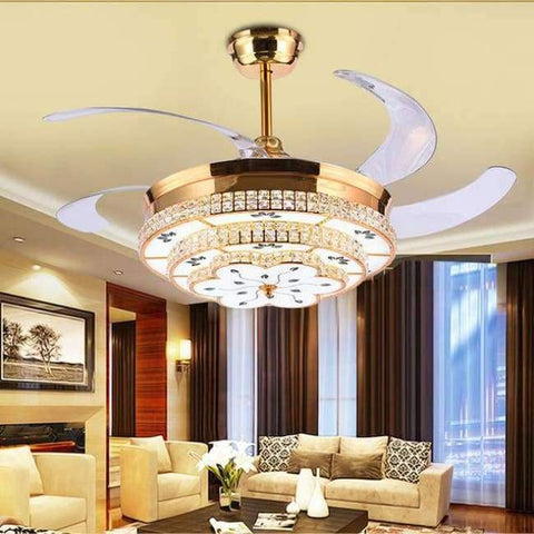 Planet Gates 52 inch Gold / 110V-130V Modern LED Luxury 52 inch Invisible Retractable Crystal Ceiling Fans With Lights Bedroom Folding Ceiling Fan Lamp Remote Control