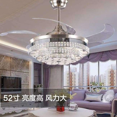 Image of Planet Gates 52 inch nickel / 110V-130V Modern LED Luxury 52 inch Invisible Retractable Crystal Ceiling Fans With Lights Bedroom Folding Ceiling Fan Lamp Remote Control