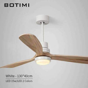 Planet Gates 52 Inch White Base / China Botimi New LED Ceiling Fan For Living Room 220V Wooden Ceiling Fans With Lights 52 Inch Blades Cooling Fan Remote Fan Lamp