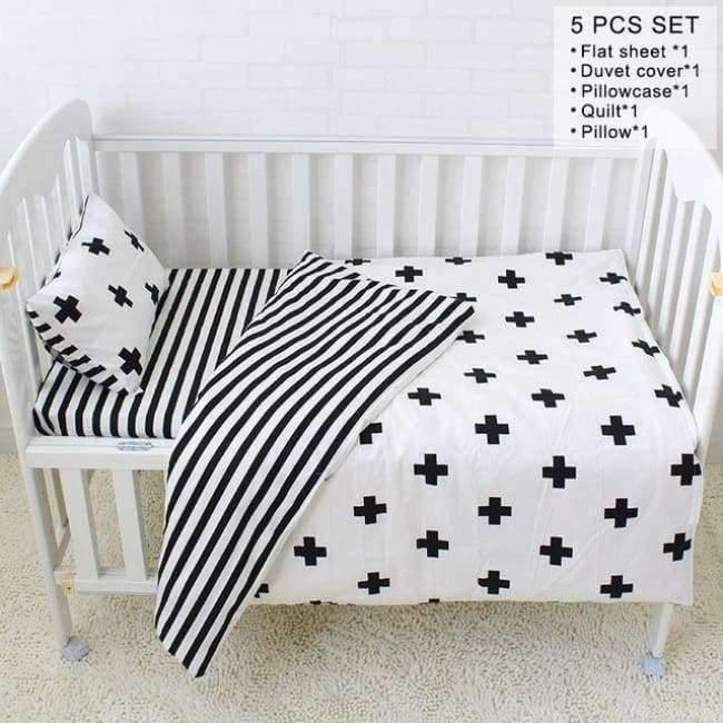 Planet Gates 5Pcs with filler Baby Cot Bedding Set Soft Breathable Cotton Bed Linen For Children Including Quilt Pillow Bumper Flat Sheet Cradle Kit For Kids