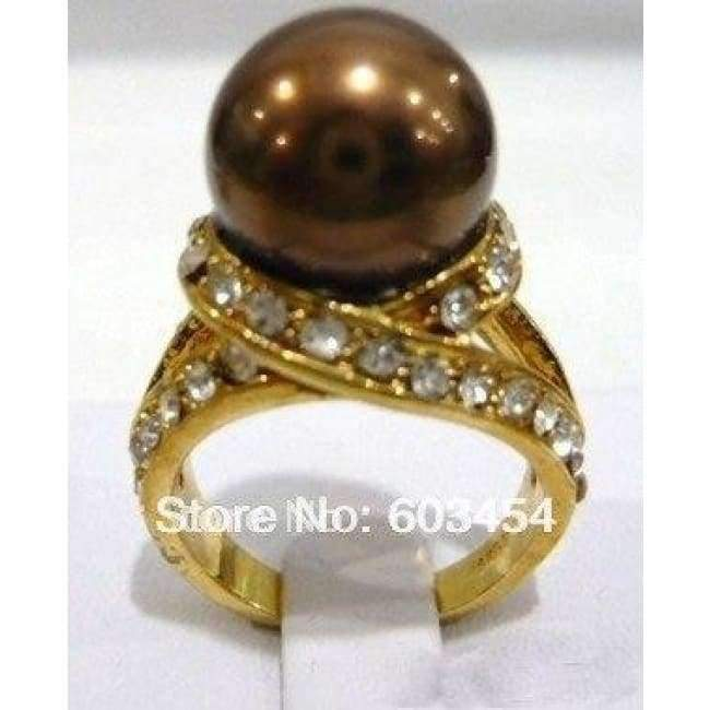 Planet Gates 6 / Brown Hot sell  Chocolate Brown Pearl 18KGP Crystal Ring Size: 6-10/ S 1Pcs -Top quality free shipping