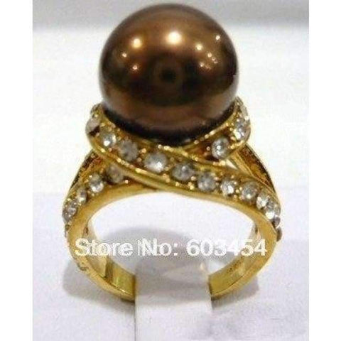 Image of Planet Gates 6 / Brown Hot sell  Chocolate Brown Pearl 18KGP Crystal Ring Size: 6-10/ S 1Pcs -Top quality free shipping