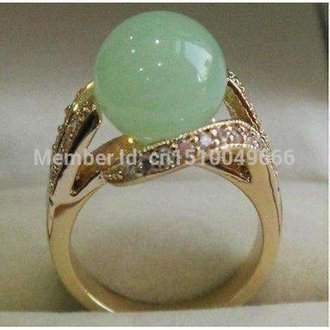 Planet Gates 6 FREE SHIPPING  Pretty 12MM Green STONE Women' s Ring Size 8