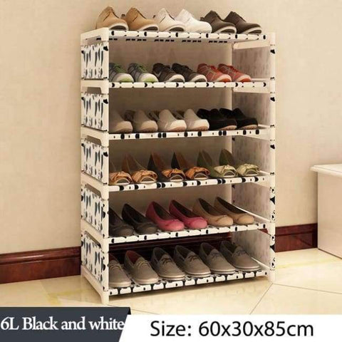 Image of Planet Gates 6L Black and white Simple Multi Layer Shoe rack Nonwovens Easy Assemble Storage Shelf Shoe cabinet fashion bookshelf Living Room Furniture