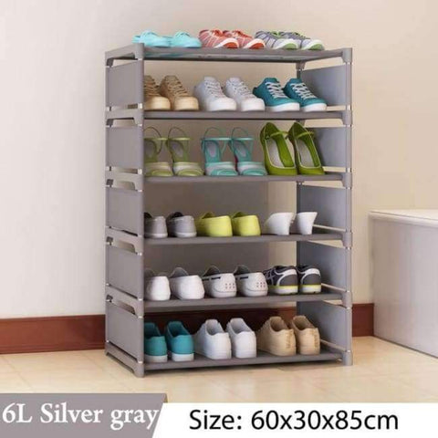 Image of Planet Gates 6L Silver gray Simple Multi Layer Shoe rack Nonwovens Easy Assemble Storage Shelf Shoe cabinet fashion bookshelf Living Room Furniture
