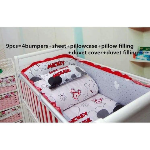 Image of Planet Gates 6pcs Cartoon 6/7/9PCS Crib Bedding Sets,Kids Accessory Newborn Baby Bed Set,