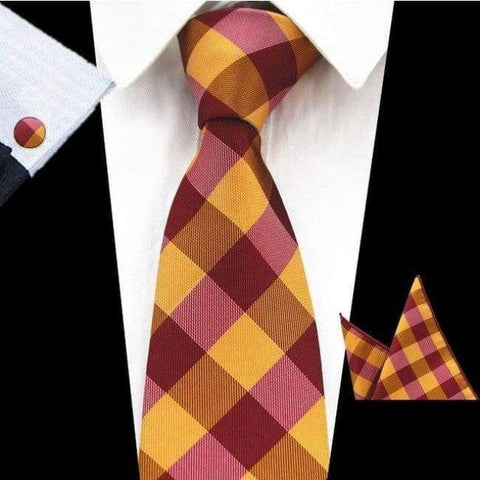 Rbocott New Mens 8Cm Classic Ties Novelty Geometric Silk Tie Hanky Cufflinks Plaid Necktie Sets For Men Business Wedding Party - 73