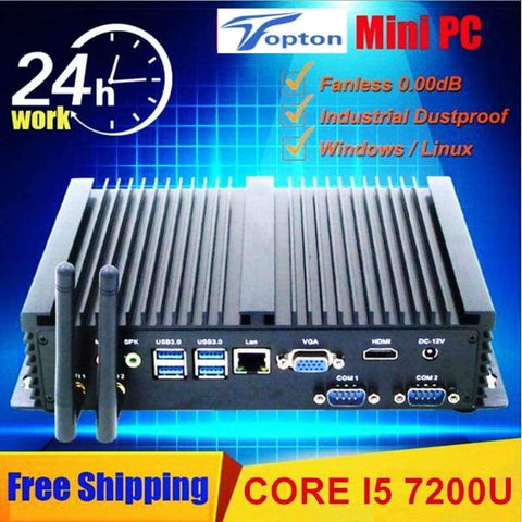 Planet Gates 8GB Ram 128GB SSD / CPU Core i7 5550U Industrial Fanless Mini PC Core i7 5550U i5 7200U i3 6006U 2*Lans 2*COM HTPC Mini PC Windows 10 Linux Small Computer 7*USB