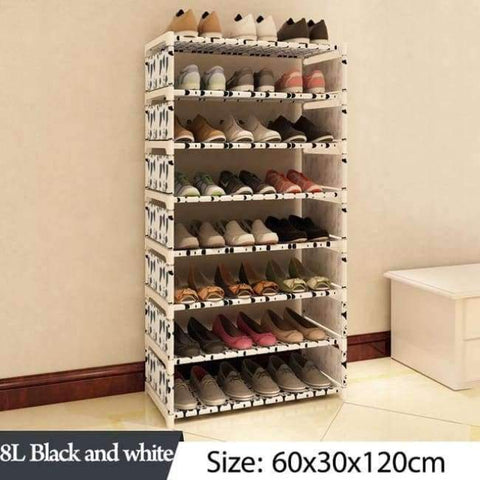 Image of Planet Gates 8L Black and white Simple Multi Layer Shoe rack Nonwovens Easy Assemble Storage Shelf Shoe cabinet fashion bookshelf Living Room Furniture