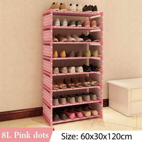 Image of Planet Gates 8L Pink dots Simple Multi Layer Shoe rack Nonwovens Easy Assemble Storage Shelf Shoe cabinet fashion bookshelf Living Room Furniture