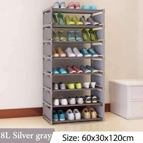 Image of Planet Gates 8L Silver gray Simple Multi Layer Shoe rack Nonwovens Easy Assemble Storage Shelf Shoe cabinet fashion bookshelf Living Room Furniture