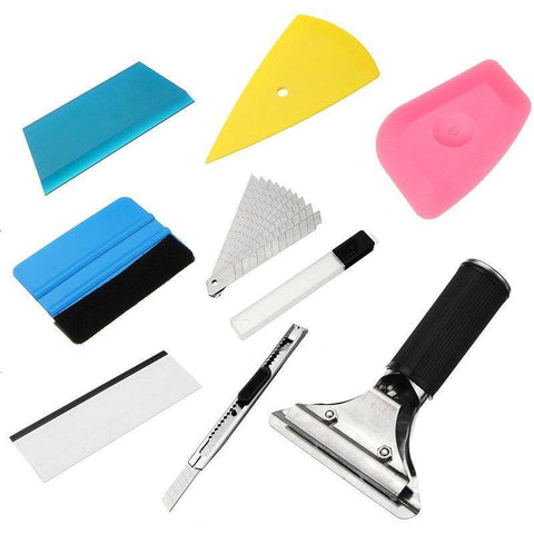 Image of Planet Gates 9Pcs Car window repair tool Set Vinyl Car Film Wrap Tool Kit universal for Auto Fiber Glass Window Tint Tool Scrapers