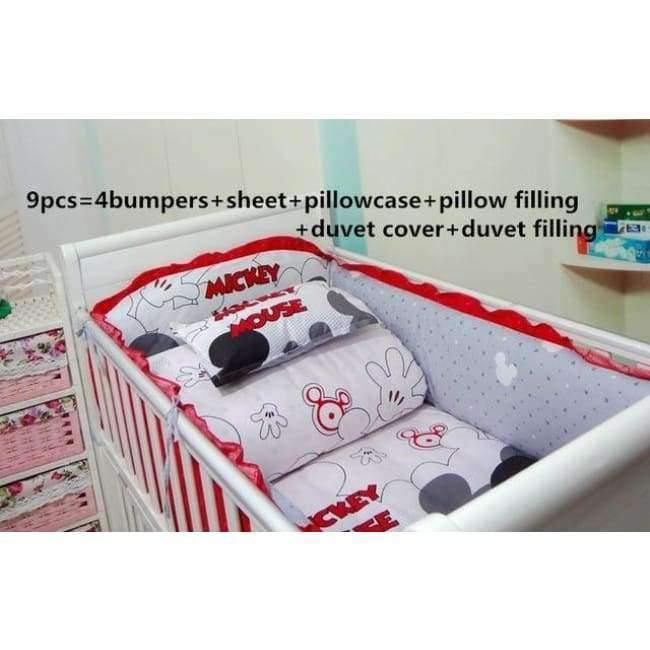 Planet Gates 9pcs Cartoon 6/7/9PCS Crib Bedding Sets,Kids Accessory Newborn Baby Bed Set,