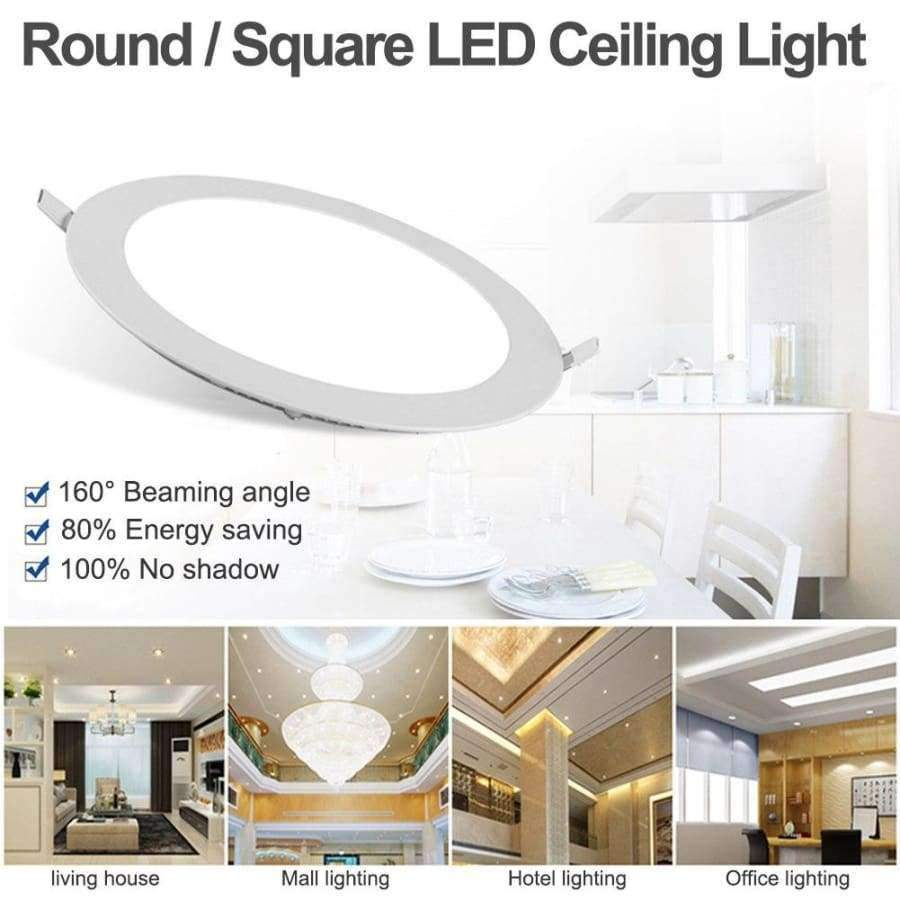 Planet Gates 9W / Round warm white TSLEEN Round/Square Recessed Ceiling Lamp LED Panel Down Lights For Home Commercial Cool Warm White LED AC 85-265V