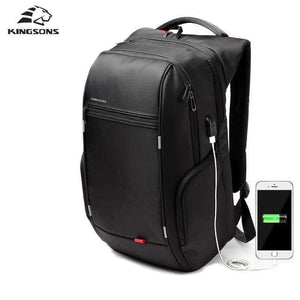Planet Gates A KS3140W Black / 13 Inches Kingsons 13.3,15.6,17.3 inch Laptop Computer Backpack for Men Women Anti-theft Waterproof Bag Backpack External USB Charge 15 17