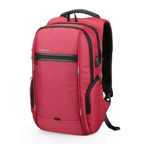Planet Gates A KS3140W Red / 13 Inches Kingsons 13.3,15.6,17.3 inch Laptop Computer Backpack for Men Women Anti-theft Waterproof Bag Backpack External USB Charge 15 17