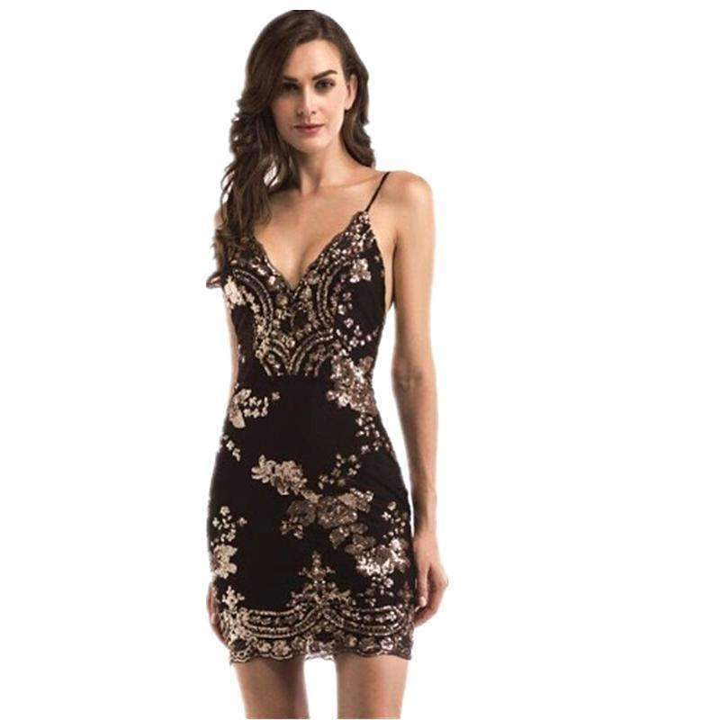 38ab5ee410ff94 Evening Sexy Black Gold Sequin Dress Women Befree Party Vestido Mesh ...