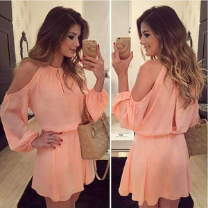 Chiffon Off-Shoulder Strap Long Sleeve Casual Solid Color Dress Women Design Summe Sexy Dress Party Eventing Bodycon Dress