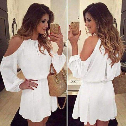 Planet Gates a1 / S Chiffon Off-Shoulder Strap Long Sleeve Casual Solid Color Dress Women Design Summe Sexy Dress Party Eventing Bodycon Dress