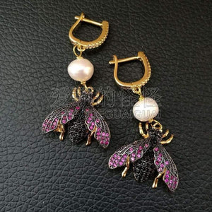 White Pearl Mixed Color CZ Micro Pave Beetle Insect Jewelry Earrings