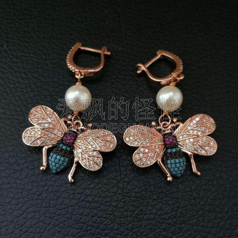 Image of Planet Gates A1 White Pearl Mixed Color CZ Micro Pave Beetle Insect Jewelry Earrings