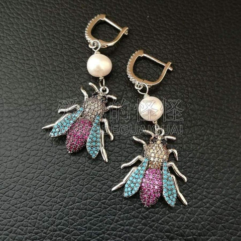 Planet Gates A1 White Pearl Mixed Color CZ Micro Pave Beetle Insect Jewelry Earrings