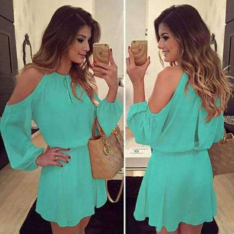 Planet Gates a3 / S Chiffon Off-Shoulder Strap Long Sleeve Casual Solid Color Dress Women Design Summe Sexy Dress Party Eventing Bodycon Dress