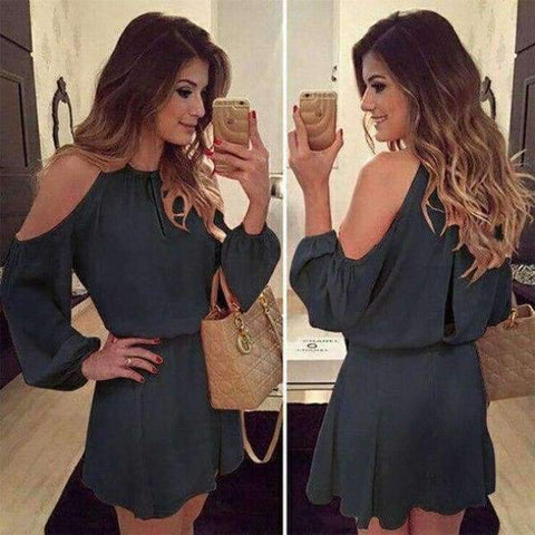 Chiffon Off-Shoulder Strap Long Sleeve Casual Solid Color Dress Women Design Summe Sexy Dress Party Eventing Bodycon Dress - A4 / S
