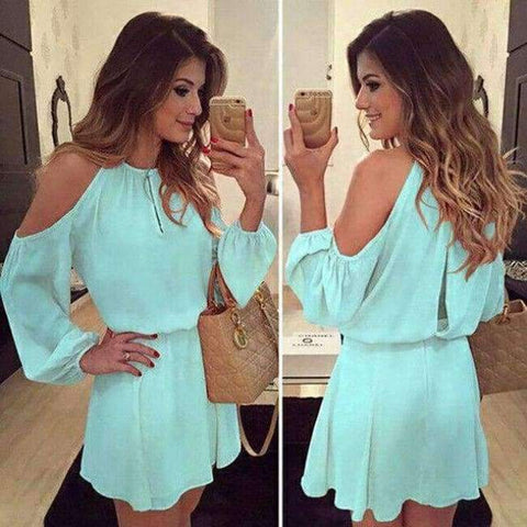 Planet Gates a6 / S Chiffon Off-Shoulder Strap Long Sleeve Casual Solid Color Dress Women Design Summe Sexy Dress Party Eventing Bodycon Dress