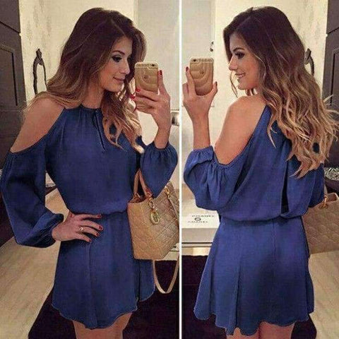 Planet Gates a7 / S Chiffon Off-Shoulder Strap Long Sleeve Casual Solid Color Dress Women Design Summe Sexy Dress Party Eventing Bodycon Dress