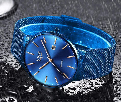 Image of Planet Gates All black Mens Watches Top Brand Luxury Fashion Watch Slim Mesh Date Waterproof Quartz Watch For Men Blue Clock