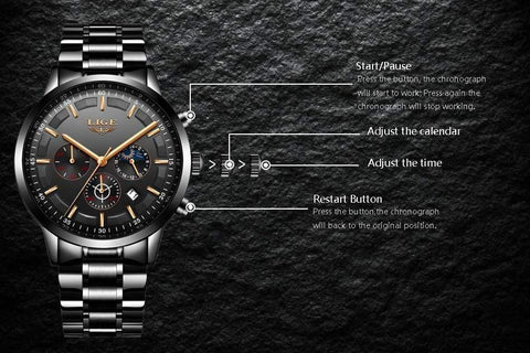 Image of Planet Gates All Black Rose Watch Men LIGE Fashion Sport Quartz Clock Mens Watches Top Brand Luxury Business Waterproof Watch Relogio Masculino
