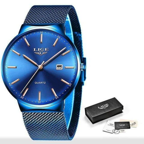 Planet Gates All blue Mens Watches Top Brand Luxury Fashion Watch Slim Mesh Date Waterproof Quartz Watch For Men Blue Clock