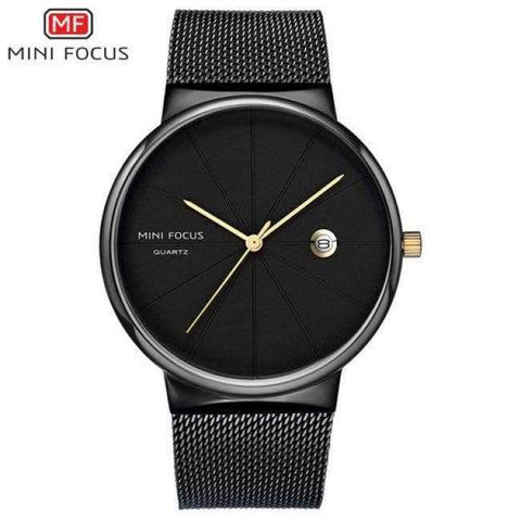 Planet Gates ALLBLACK 1 MINI FOCUS Men Watches 2018 Luxury Brand Quartz Clock Ultra Thin Blue Mesh Strap Date Display Fashion Concise Wristwatch + BOX