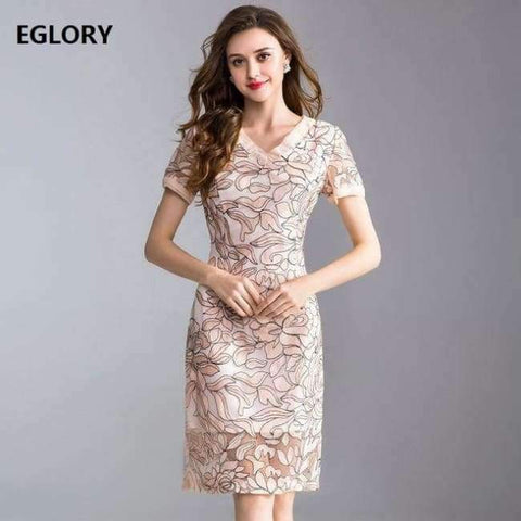 Planet Gates apricot / XL Womens Fashion Summer Party Event Dress 2018 Ladies V-Neck Allover Exquisite Embroidery Lace up Dress Knee Length